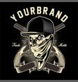 skull mafia with gun hand drawing vector image vector image