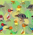 strange birds on the background of leaves vector image vector image