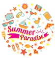 Summer Flat Icons and Text Heading vector image vector image