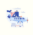 time to travel and summer holiday airplane vector image