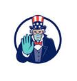 uncle sam wearing mask stop hand signal mascot vector image vector image