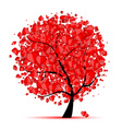 Valentine tree love leaf from hearts vector image vector image
