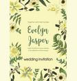 wedding invite invitation card floral vector image vector image