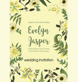 wedding invite invitation card floral with vector image vector image