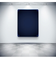 White room with black glass screen placeholder vector image vector image