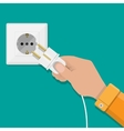 White Socket and hand with plug vector image vector image