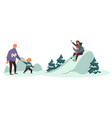 winter fun on vacation family sloping from hills vector image vector image