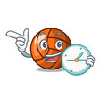 with clock volleyball character cartoon style vector image