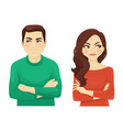 woman and man angry emotion vector image vector image