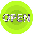 word open in techno style on a green vector image