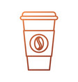 disposable coffee cup take away with bean symbol vector image