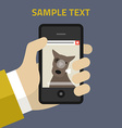 Flat design Hand of the person with mobile vector image