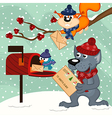animals send letters to Santa Claus vector image