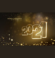 2021 christmas garland with light lamp and stars vector image vector image