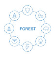 8 forest icons vector image vector image