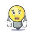 afraid light bulb character cartoon vector image vector image