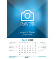 april 2018 wall monthly calendar for 2018 year vector image vector image