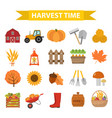 autumn harvest time icons set flat cartoon style vector image