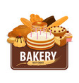 bakery shop pastry and confectionery vector image