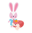 bashower cute little female rabbit and fox vector image vector image