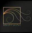 beauty salon golden symbol scissors and hair vector image vector image