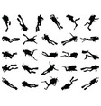 black silhouette scuba vector image