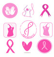 breast cancer awareness symbols collection vector image