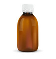 brown plastic bottle with white cap for medicine vector image vector image