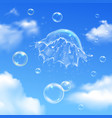 bubbles explosion on sky composition vector image
