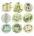 business finance money set hand drawn vector image