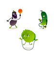 cabbage eggplant cucumber sport characters vector image vector image