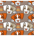 cartoon dog on grey seamless pattern vector image vector image