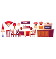 chinese restaurant interior with lantern and fan vector image