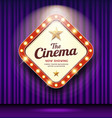 cinema theater sign shaped square light up purple vector image