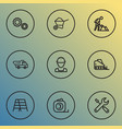 construction icons line style set with maintenance vector image vector image