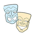 continuous line comedy and tragedy masks vector image vector image