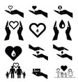 donate set symbol in black and white color vector image