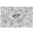 doodle cartoon set sea life objects and symbols vector image