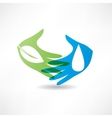 eco concept hand and water icon vector image