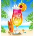 Exotic cocktail with summer greeting vector image vector image