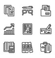 finance icon set outline style vector image vector image