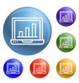 finance laptop icons set vector image vector image