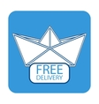 Free delivery icon with paper boat vector image