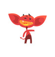 funny red devil with little horns big ears and vector image vector image