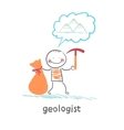 Geologist holding a hammer and a bag and thinks vector image vector image