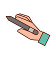 graphic designer hand holding pen tool vector image
