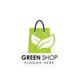 green shop logo icon design shopping bag icon vector image