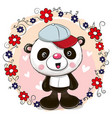 greeting card panda with flowers vector image vector image