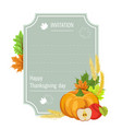 hand drawn thanksgiving greeting card with pumpkin vector image vector image