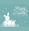happy easter greeting card background with rabbit vector image